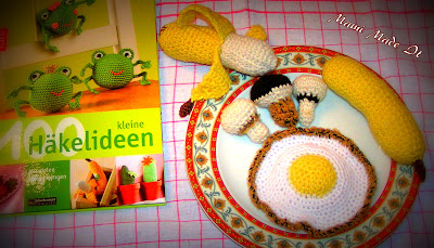 I crochet cakes and fruit and vegetables and ready meals for my girlie's kitchen