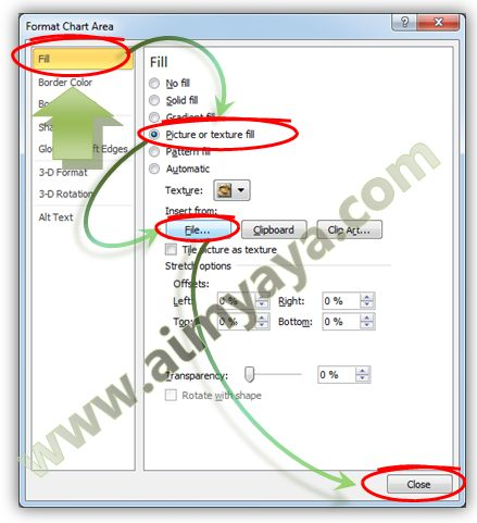 Gambar: Memberikan gambar untuk background grafik di Microsoft Excel 2010