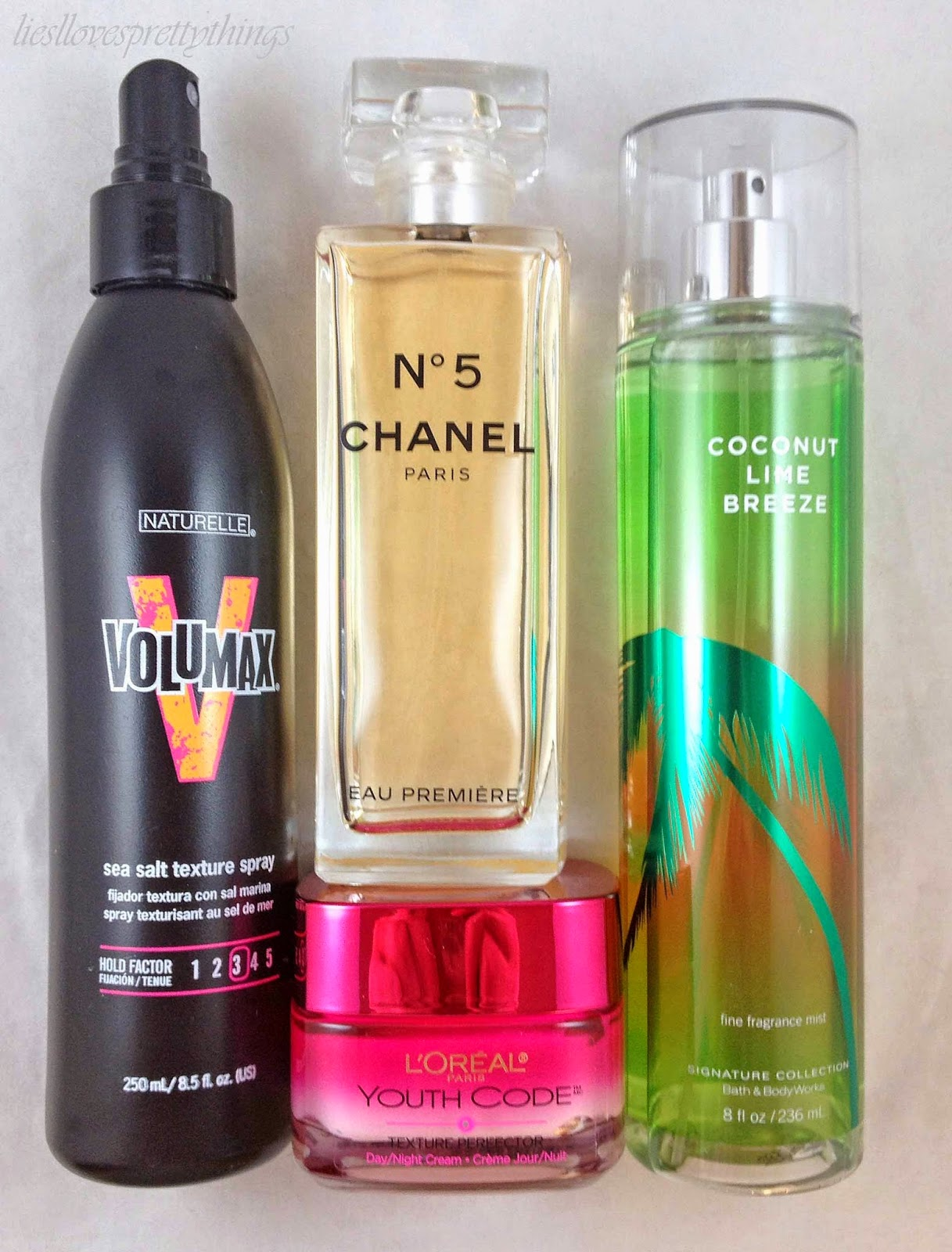 Naturelle Volumax, L'Oreal Youth Code, Chanel Eau Premiere, Bath and Body Works Coconut Lime Breeze