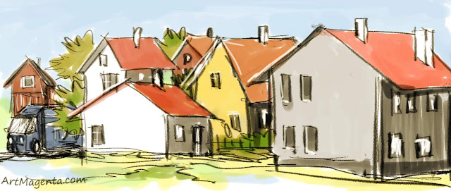 Close standing houses is a drawing by artist and illustrator Aetmagenta