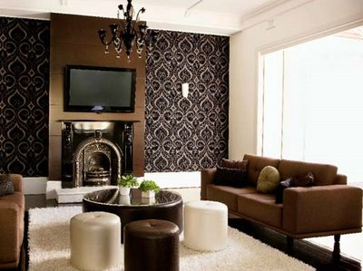 Pamba boma dark chocolate brown color scheme - Brown and black living room ...