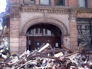 Columbia Building amid demolition rubble