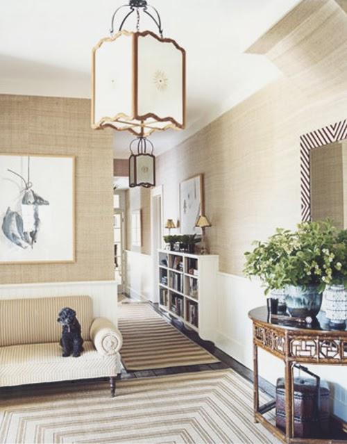 Traditional Foyer Wallpaper : Neutral grasscloth foyer wallpaper