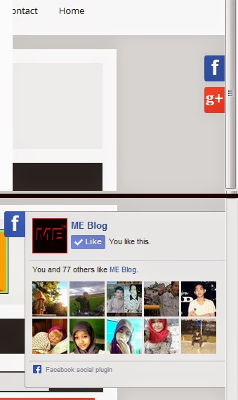 Cara Membuat Box Sliding Widget G+ Follower dan Like Fanspage Facebook