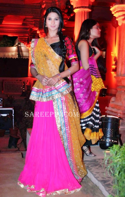 winget in lehenga style half saree at Saraswatichandra serial launch