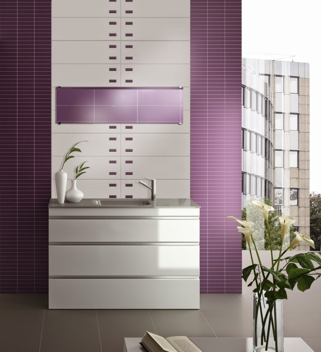 Bathroom tile ideas from azteca adapted the trends for Purple bathroom tiles ideas