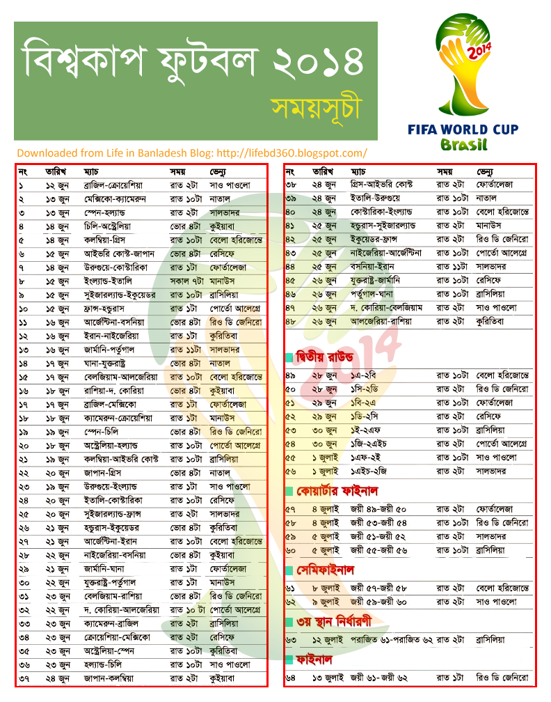 Amazing Fixture Bd Time World Cup 2018 - world-cup-2014-fixture  Image_727069 .png