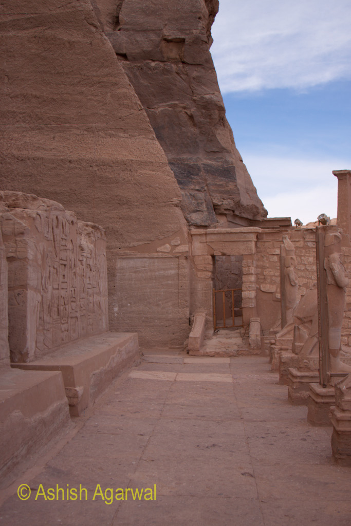 The passage way in front of the entrance to the Abu Simbel temple in Egypt