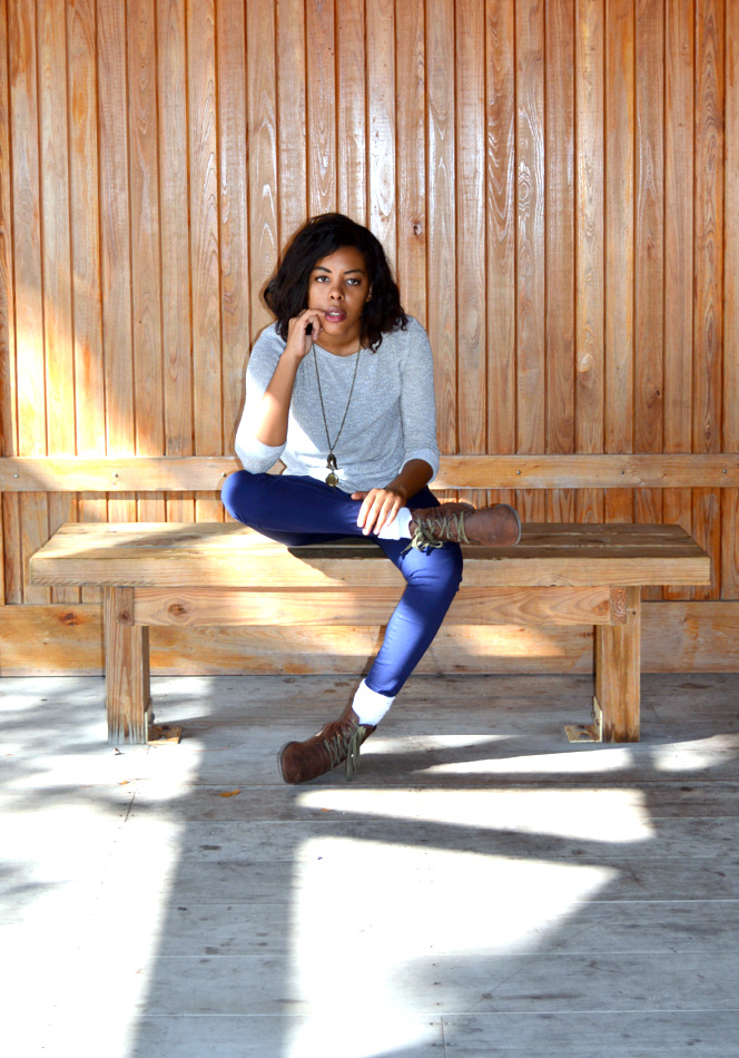 Fashion Blogger Anais Alexandre of Down to Stars wearing a Target sparkly top with AKA navy pants and Forever 21 brown combat boots