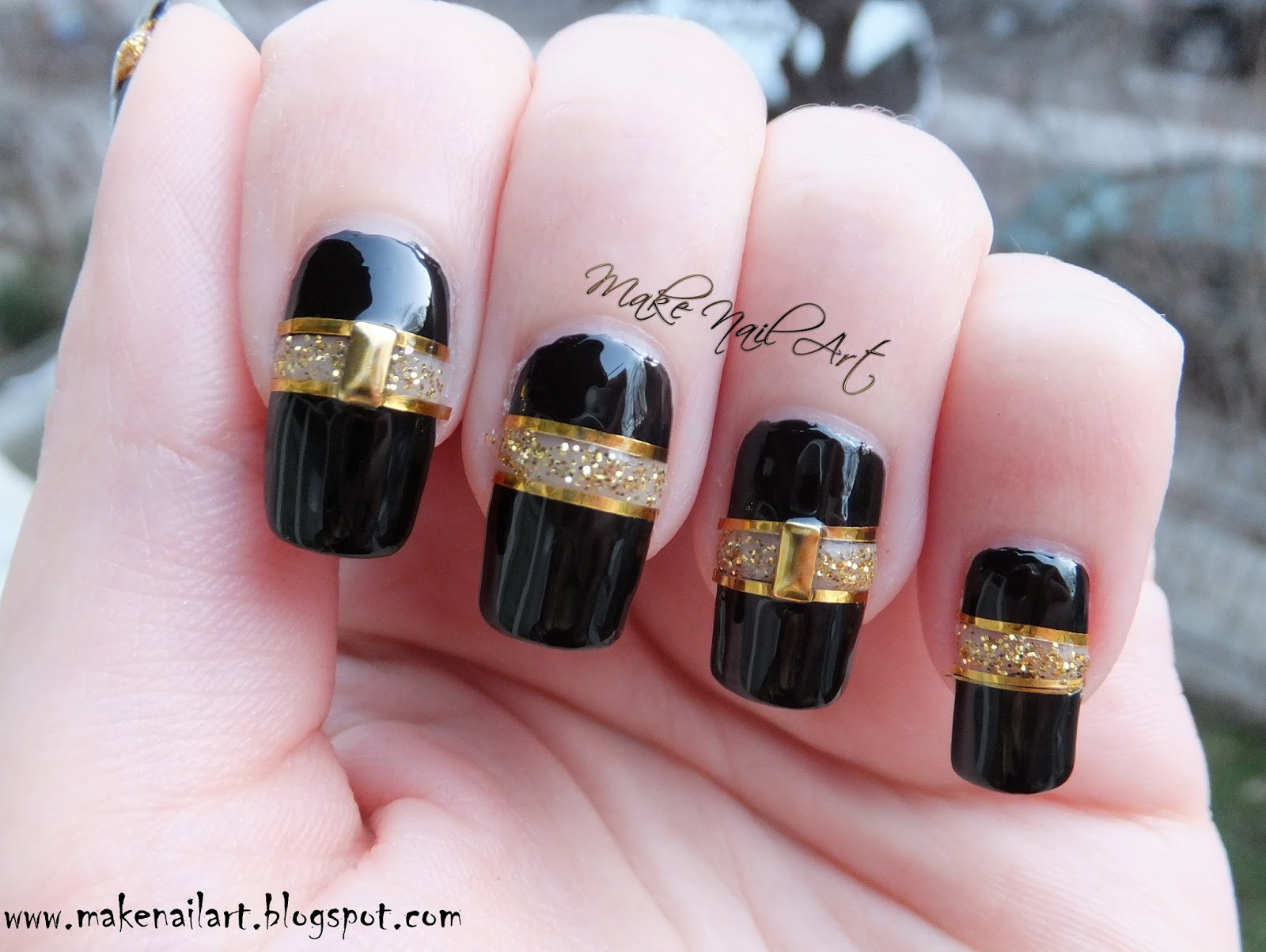 Make nail art black and gold cut out nail art design tutorial gold glitter polish a tape gold striping tape gold studs a top coat prinsesfo Images
