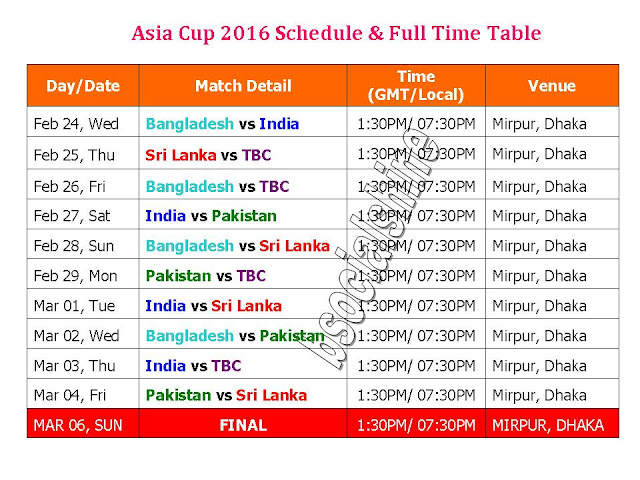 Asia Cup 2016 Schedule & Full Time Tab,ICC T20 Asia Cup 2016 Schedule,t20 asia cup 2016 schedule,time table asia cup 2016,t20 asia cup 2016,time table,local time,india tima,pakistan time,GMt,IST,match timing,asia cup 2016 full schedule,2016 t20 asia cup fixture,t20 asia cup 2016 time table,full schedule asia cup 2016,final,ICC t20 asia cup 2016 fixture,asia cup 2016 schedule,Bangladesh,India,Sri Lanka,Pakistan ICC T20 Asia Cup 2016 Schedule, Time Table & Venue   Teams: Bangladesh, India, Sri Lanka, Pakistan, TBC,     Click here for more detail..