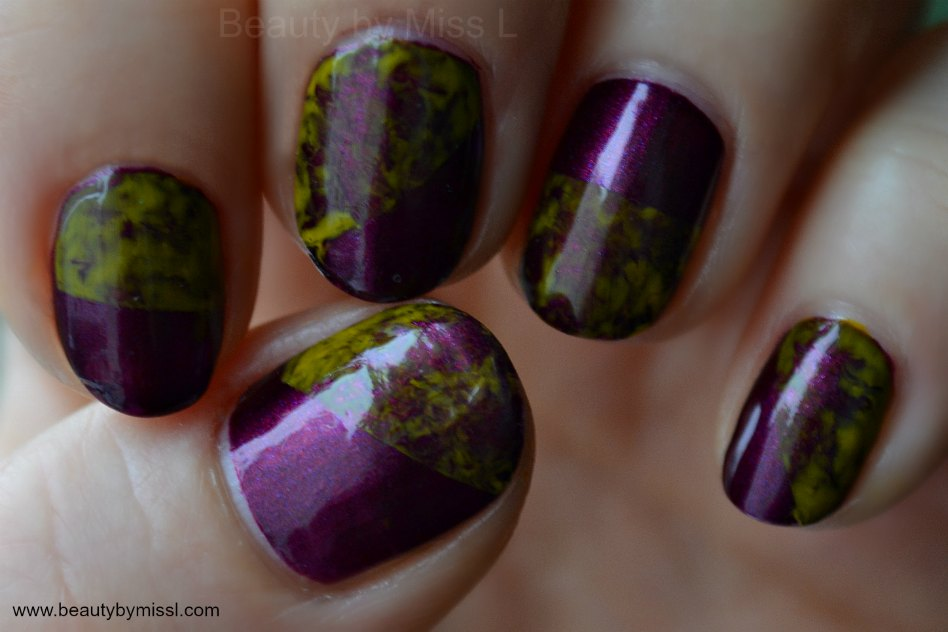 yellow purple cling wrap manicure