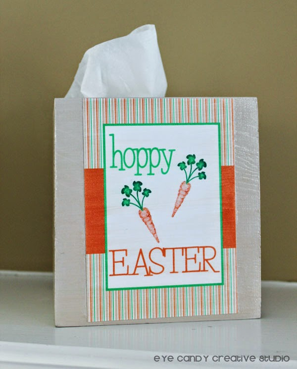 easter craft, tissue box holder, hoppy easter, Michaels, paint, modge podge project