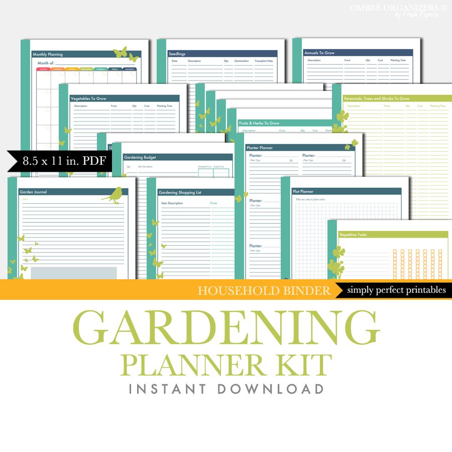 Printable planner kit gardening journal for Patio planner online free