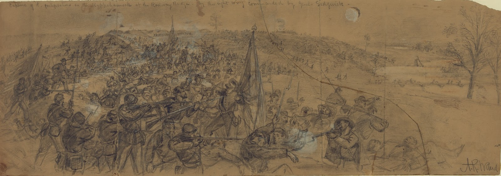 this sketch by alfred waud depicts the union troops from david russell s 1st division 6th corps overrunning the confederate earthworks