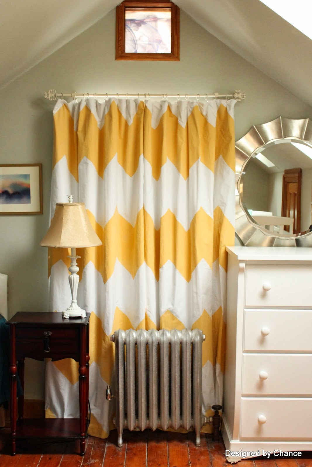 Yellow patterned curtains - Yellow Chevron Curtains 2 Taping Off The Pattern
