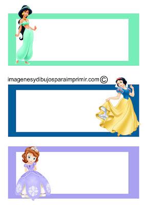 Etiquetas princesas disney