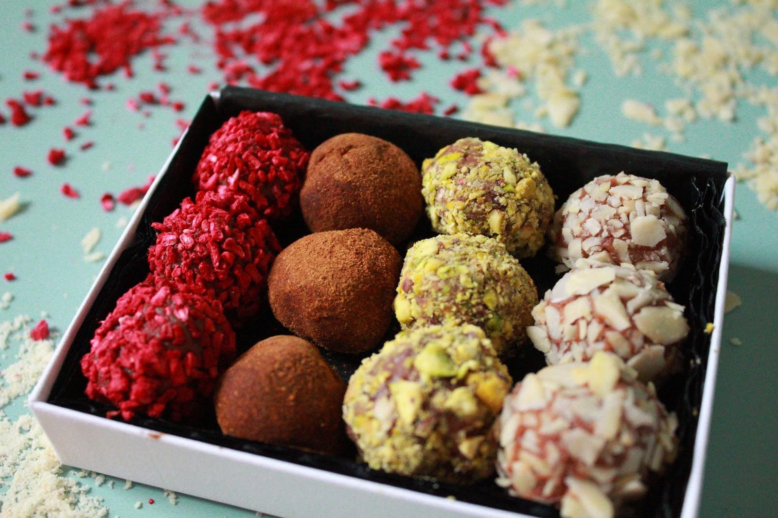 Milk Chocolate Truffle Ideas: Sea Salt, Pistachio, Almond, Cinnamon and Raspberry.