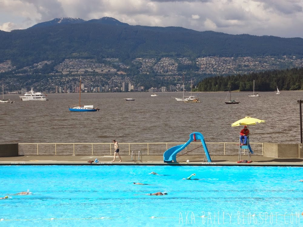 Kitsilano Public Pool and view of English Bay, West Vancouver