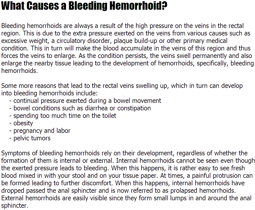 hemorrhoids remedy: hemorrhoids bleeding - what causes a bleeding, Human Body