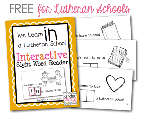 FREE emergent reader that's perfect for Lutheran Schools Week
