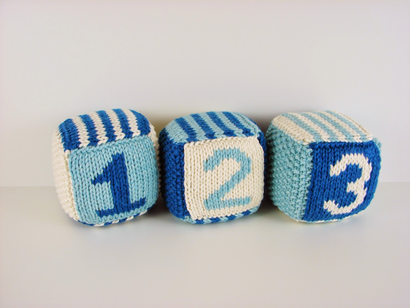 knit, blocks, foam, toys, hand knit, letter, number, striped, white, blue