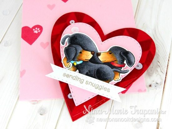 Sending Snuggles Puppy Valentine Card by Nina-Marie Trapani | Darling Duos Stamp set by Newton's Nook Designs #newtonsnook