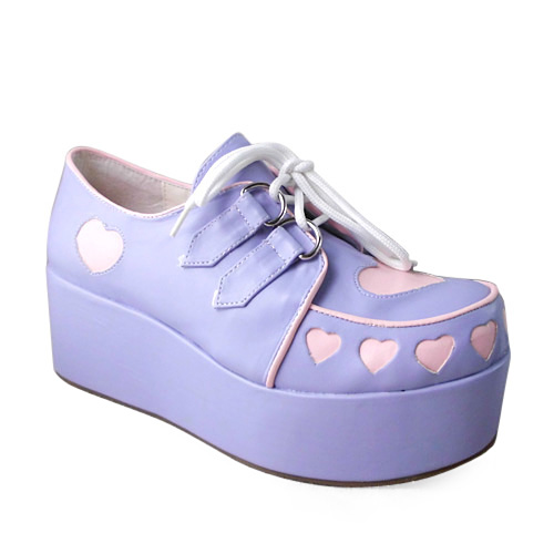 pizza-kei cute pizza fairy kei fairy-kei spring trends fashion j-fashion japanese fashion alternative alt-fashion kawaii cult party key pastel 2013 platform shoes pastel lavender purple lilac creepers pink heart