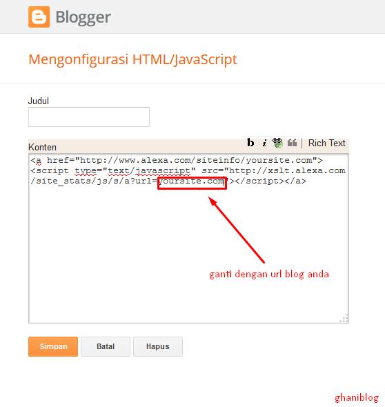 Cara Memasang Widget Alexa di Blog Terbaru