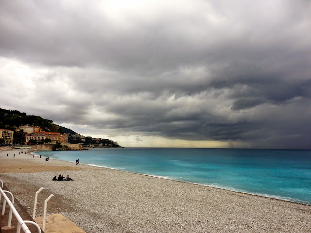 Beach / Plage de Nice in the rain, France