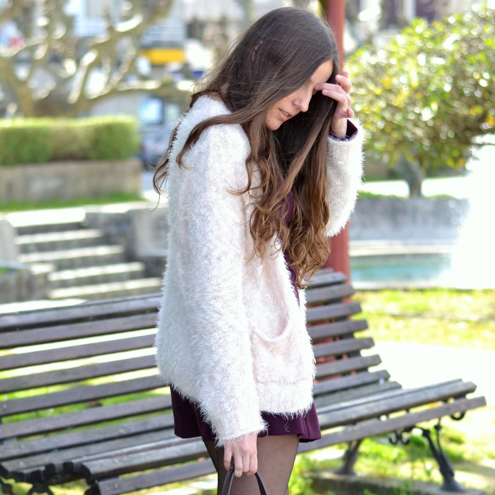 chaqueta de pelo rosa bershka