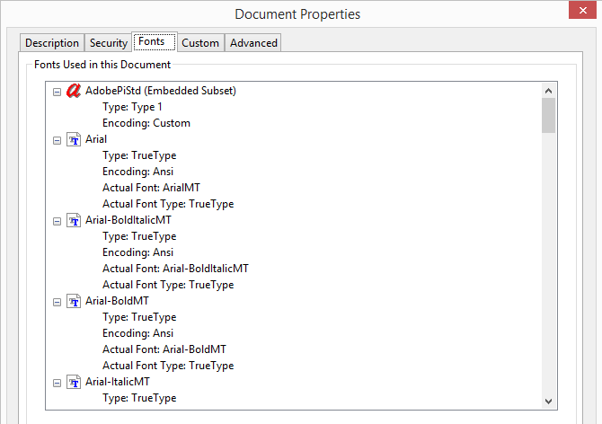 Pic. 1 Examining fonts used in PDF document