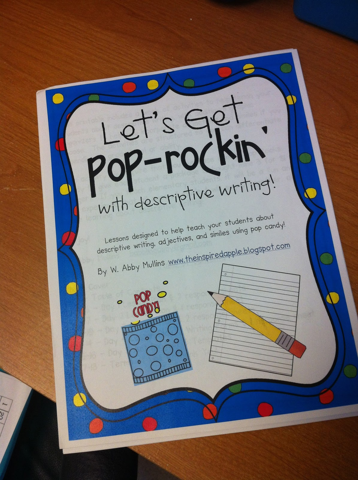 first grader at last pop rockin describing words pop rockin describing words