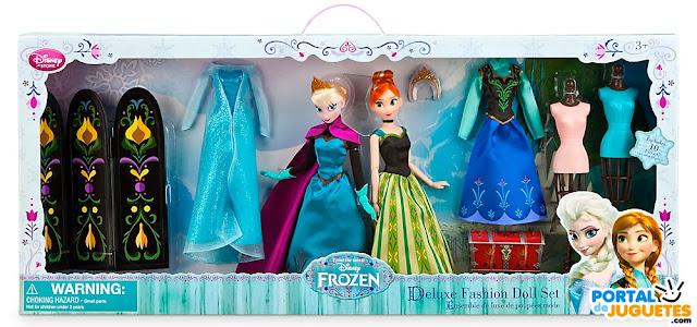 caja set completo munecas de lujo elsa anna frozen