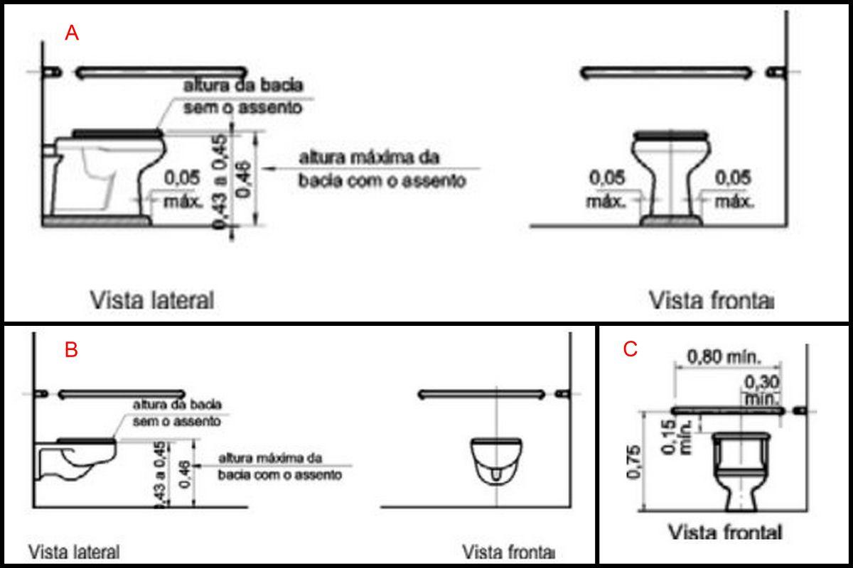 bacia sanitária convencional adaptada; B) bacia sanitária  #B12A1A 1200x800 Banheiro Cadeirante Nbr 9050