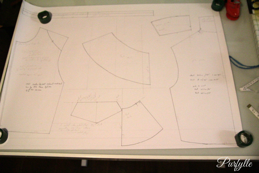 drafting the Nils Sture doublet pattern in the original size