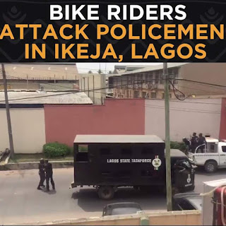 Drama as bike riders attack police officers in Ikeja