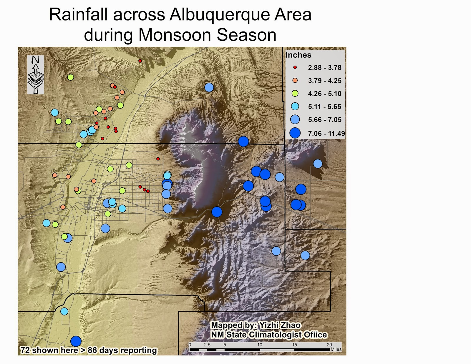 map 2 rainfall across albuquerque area during monsoon season mapped by yizhi zhao from nm state climatologist office