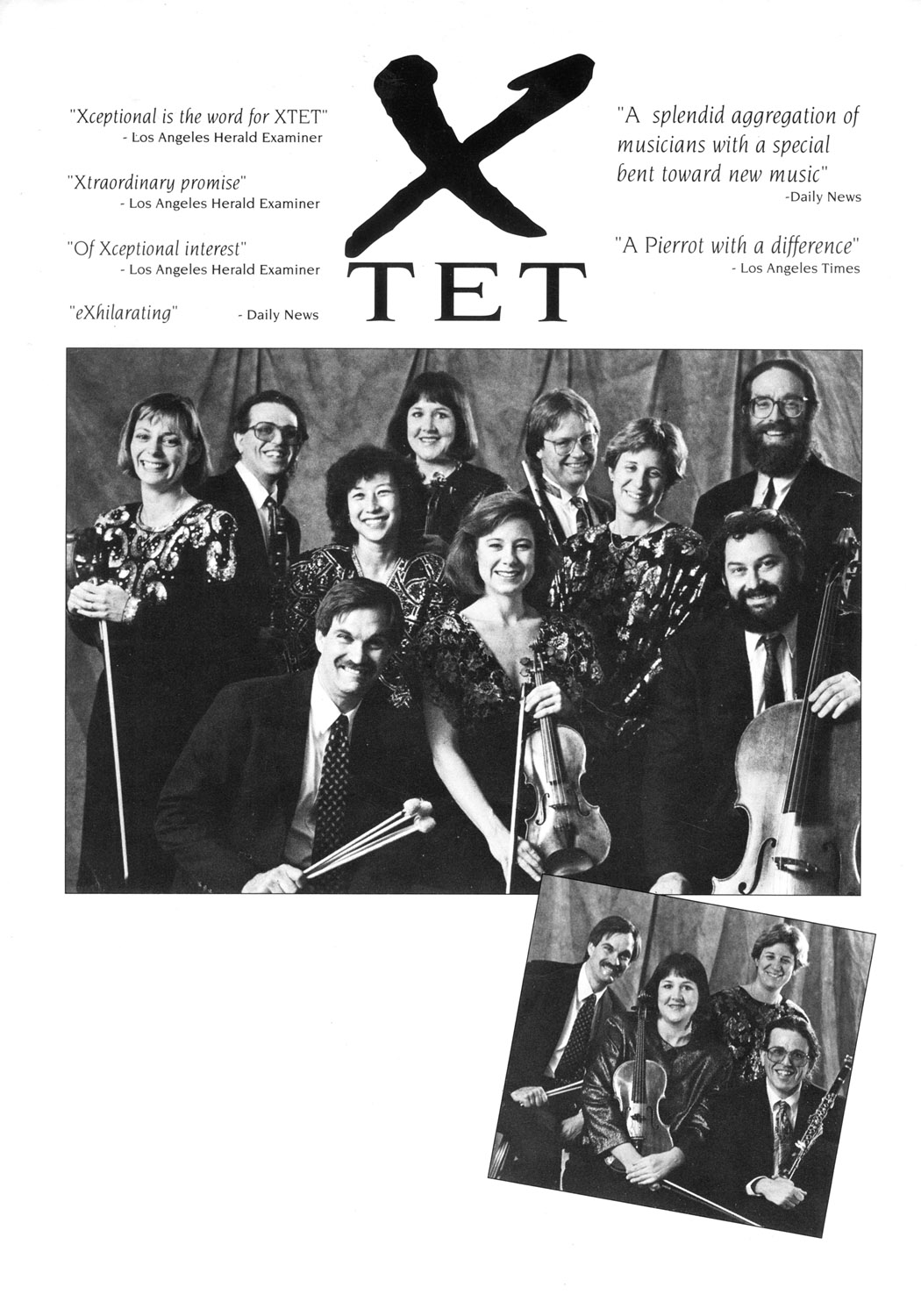 Publicity flyer for chamber ensemble Xtet with press quotes, early 1990s - L-R Jennifer Munday, David Ocker, David Johnson, Daisietta Kim, Kazi Pitelka, Elizabeth Baker, Gary Woodward, JoAnn Turovsky, Roger Lebow, John Steinmetz