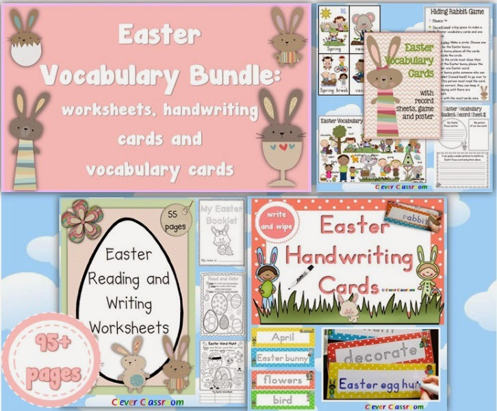 Easter Vocabulary BUNDLE Worksheets, Vocabulary Cards and Handwriting Cards