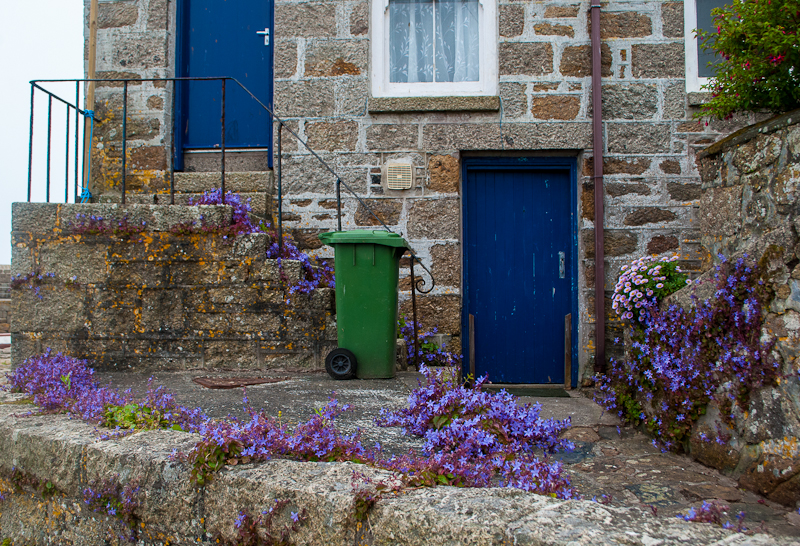 Flowers and brick houses in mousehole cornwall, england