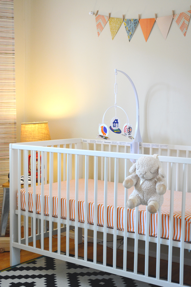 Ford's Baby Boy Nursery, Crib and Bunting - Interior Design by Lesley Myrick, Pasadena Interior Designer
