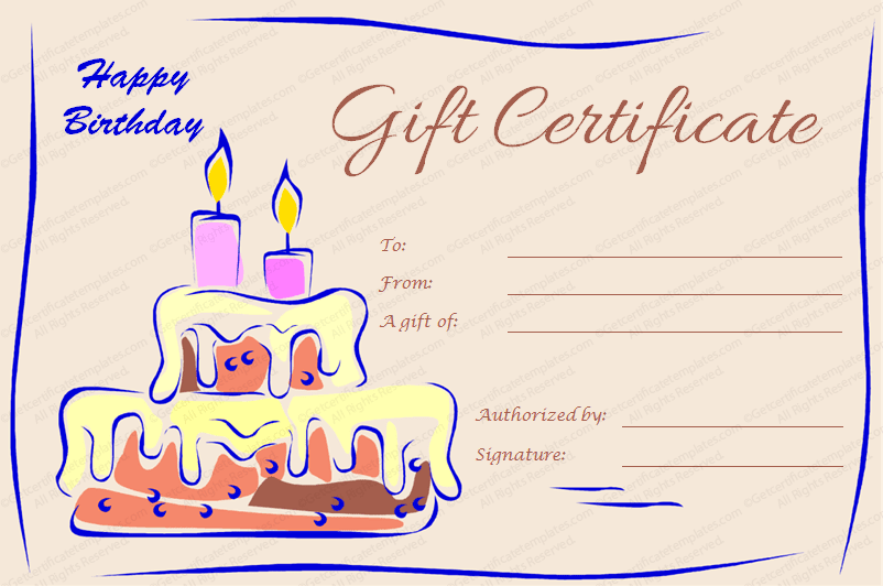 Gift certificate templates for Birthday gift certificate template