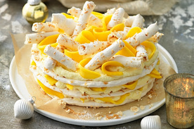 Mango, white chocolate & coconut gateau Recipe