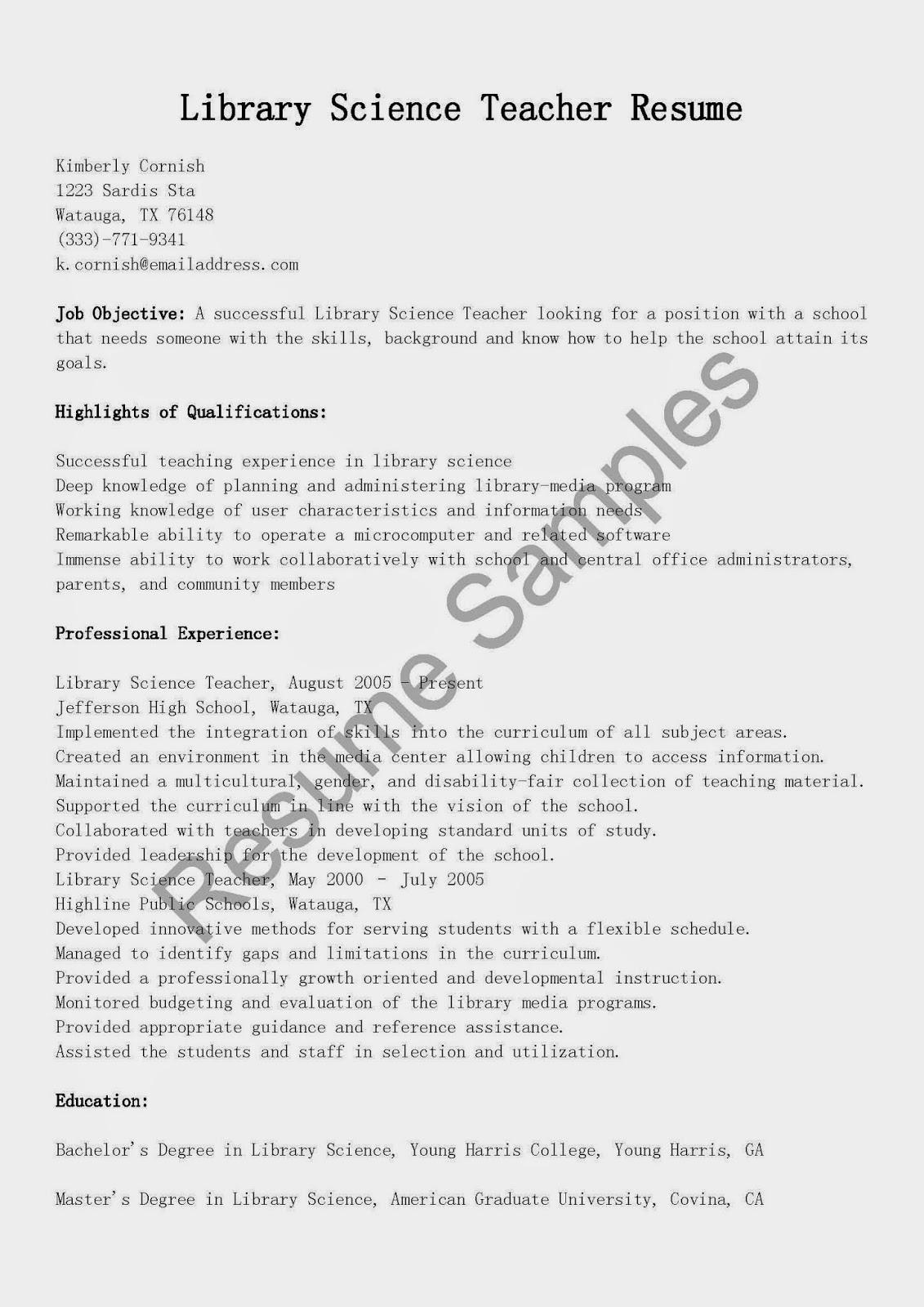 resume samples library science teacher resume sample
