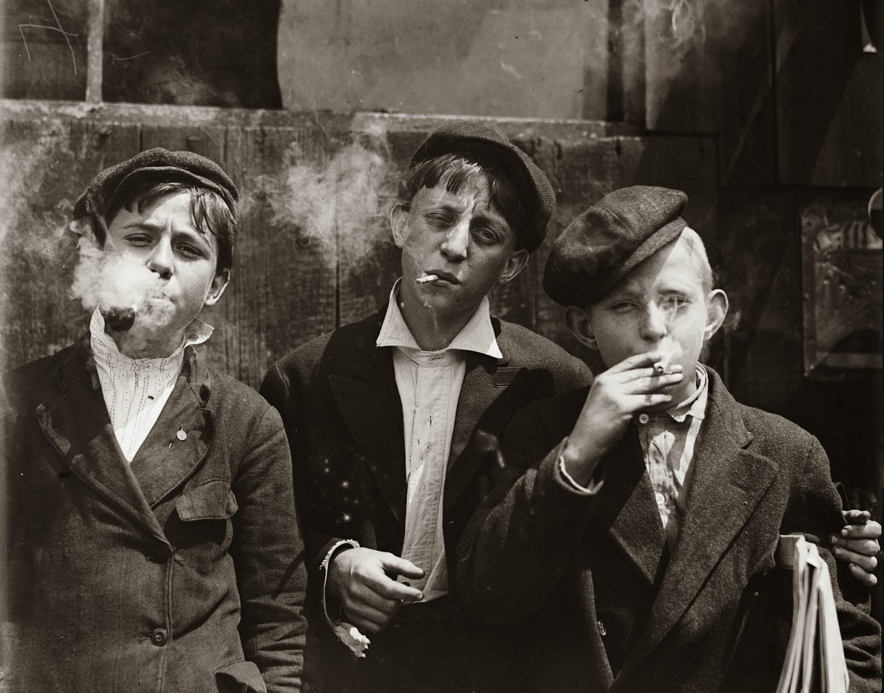 Newsies at Skeeter's Branch. They were all smoking. St. Louis, Missouri. 1910