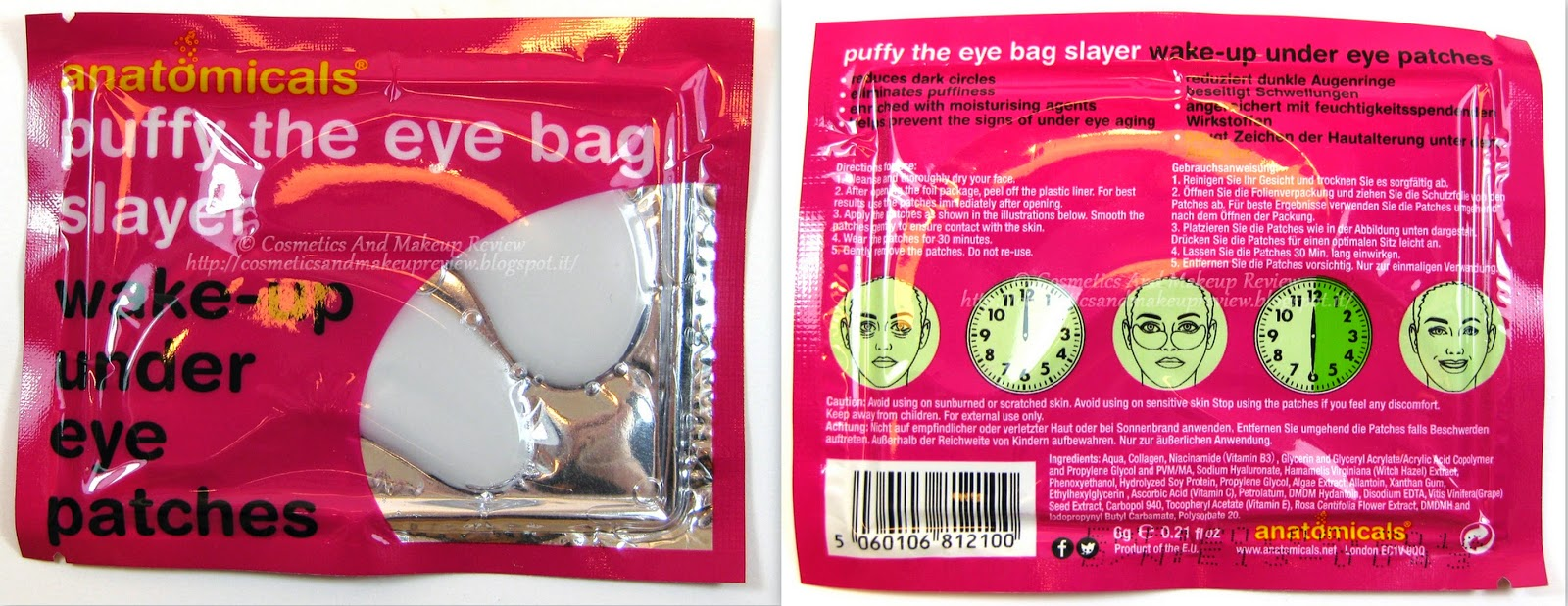 Anatomicals - Puffy The Eye Bag Slayer - Wake-up Under Eye Patches packaging