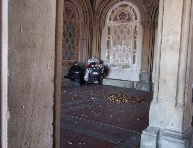 Homeless at Bethesda Fountain, Central Park, NYC, 2013