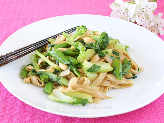 Super Green Stir Fry with Almonds and Udon Noodles