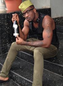 Peter Okoye with £1.2m Goûtdediamants champagne